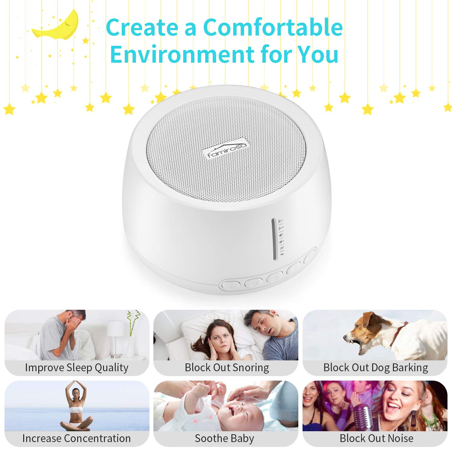 White Noise Sound Machine for Sleeping, FAMIROSA 30 High Fidelity Soothing Sounds with High Quality Speaker, Memory Function & Earphone Jack for Baby, Adult, Office, Travel with Fan & Nature Sounds