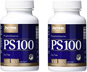 Jarrow Formulas Phosphatidylserine PS 100 for Healthy Brain Function 100 mg Non-GMO and Soy Free (60 Softgels) Pack of 2