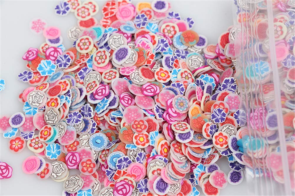 Mezerdoo 1000Pcs/Bag Nail Art Polymer Clay Canes Fruit Feather Flowers Fimo Slice Set Gel Polish Tips DIY Cute Decor Decals Kit Polymer Clay DIY Beauty Nail Stickers Decorations (Feather and Leaves)