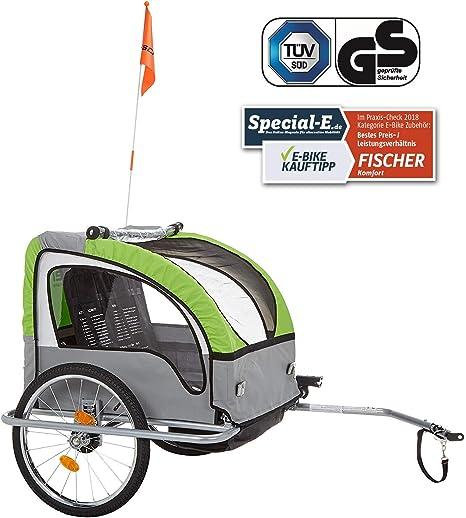 fischer Niños Remolque de Bicicleta con suspensión TÜV/GS, Verde ...