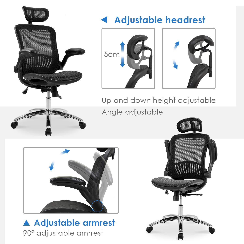 Merax Ergonomic Mesh Adjustable Home Desk Chair Office Chair Modern New Design Reclining Chair by Merax (Image #5)