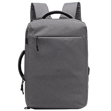 LEDMOMO Mochila de ordenador portátil, mochila de la universidad con el puerto de carga USB mochila de viaje de peso ligero para hombres mujeres (gris ...