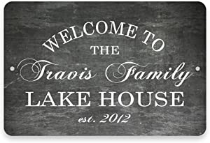 Pattern Pop Personalized Chalkboard Welcome to The Family Lake House Metal Room Sign