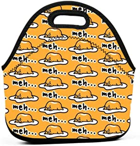 Neoprene Lunch Bag Gudetama Cute Reusable Insulated Thermal Lunch Tote Small Lunch Box Carry Case Handbags Container with Zipper for Adults Kids Nurse Teacher Work Outdoor Travel Picnic
