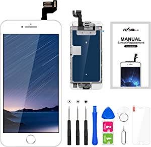 """FLYLINKTECH Display for iPhone 6S White Screen 4.7"""" LCD Touch Screen Digitizer Replacement Parts (with Home Button, Camera, Flex Sensor) Complete Replacement Disassembly Kit"""