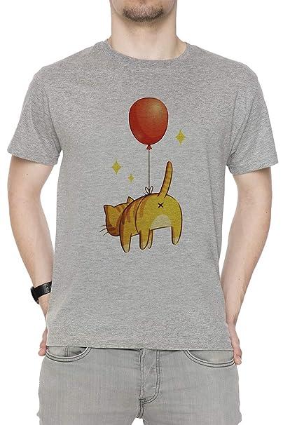 Erido Globo Extremo - Gato Hombre Camiseta Cuello Redondo Gris Manga Corta Todos Los Tamaños Mens Grey T-Shirt: Amazon.es: Ropa y accesorios