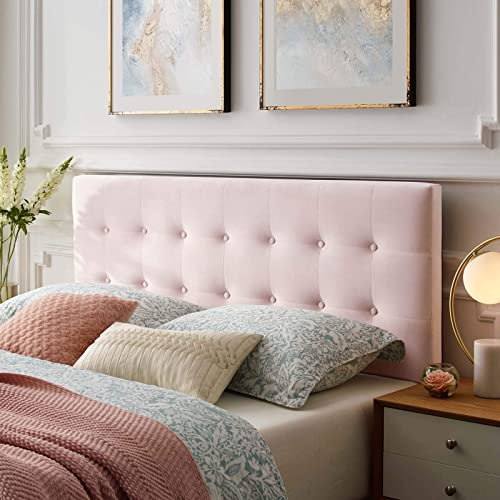 Modway Emily King Biscuit Tufted Performance Velvet Headboard, Pink