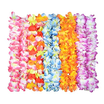 Amazon time4deals upgraded hawaiian flower lei for luau party time4deals upgraded hawaiian flower lei for luau party60 flowers on necklace tropical mightylinksfo