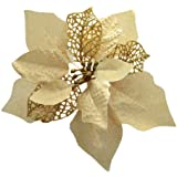 Crazy Night (Pack of 12) Glitter Poinsettia Christmas Tree Ornaments (Gold)