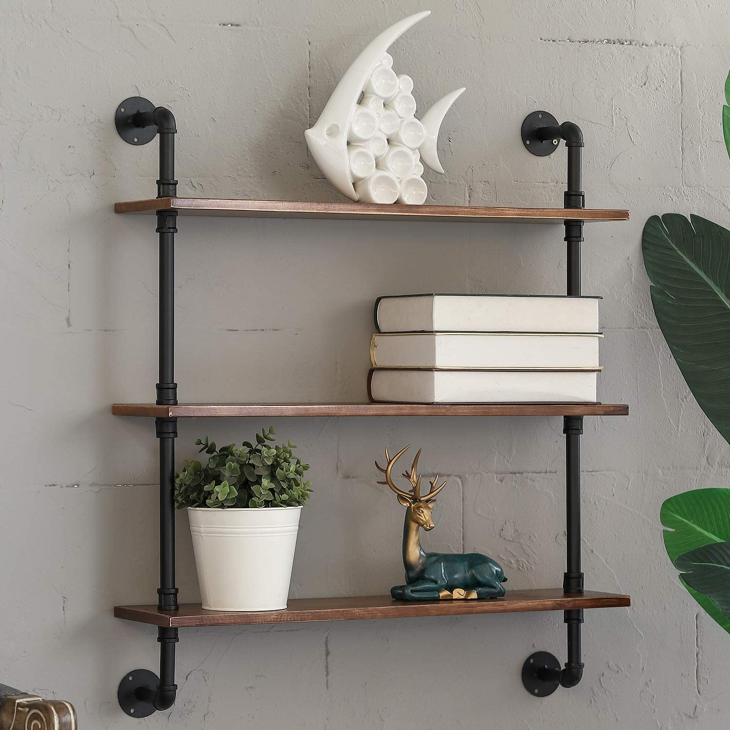 MOCOME Industrial Pipe Shelf with Light Solid Pine Wood, Rustic Wall Mount Floating Shelves for Bathroom, 3 Tier DIY Metal Bracket Wall Shelving Bookshelf(Both Sides Brown)