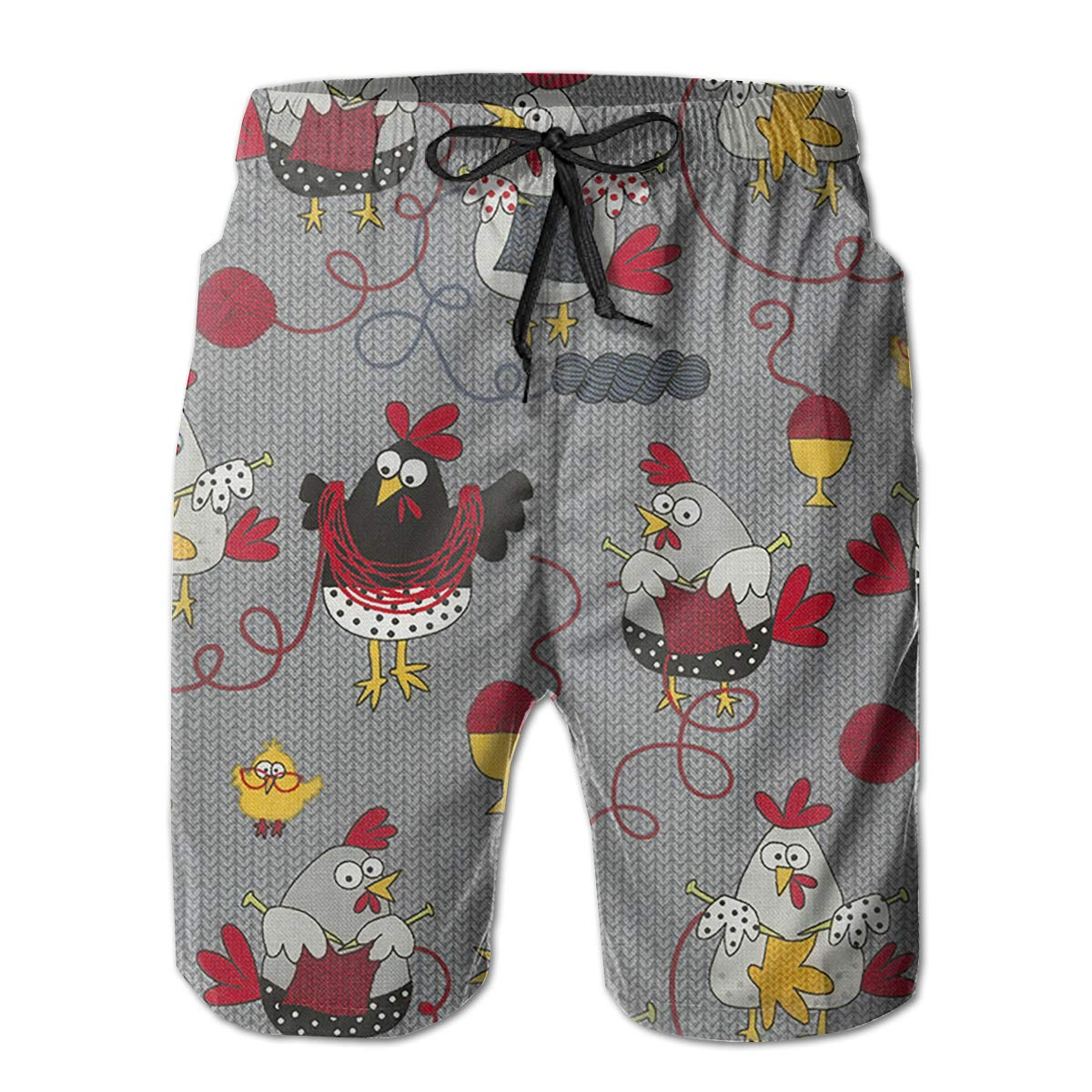 Mens Swim Trunks Red Chicken Grey Quick Dry Drawstring Surfing Beach Board Shorts with Pockets