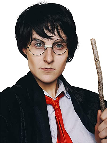 Boy Wizard Wig Glasses Costume Set Short Black Wigs Kids Adults Boys Costumes
