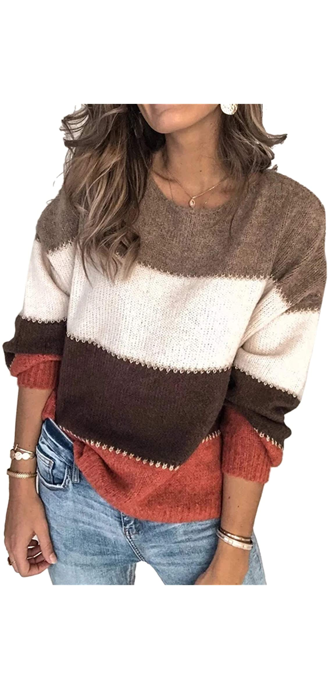 Women's Sweaters Casual Long Sleeve Crewneck Color