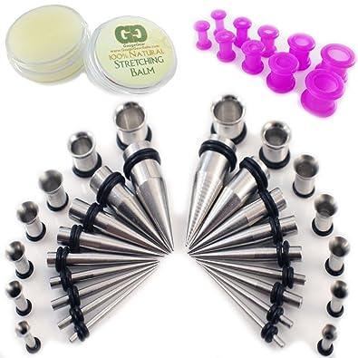 Never86 Kit de principiante de dilatación con 50 piezas, acero inoxidable, dilatadores para orejas