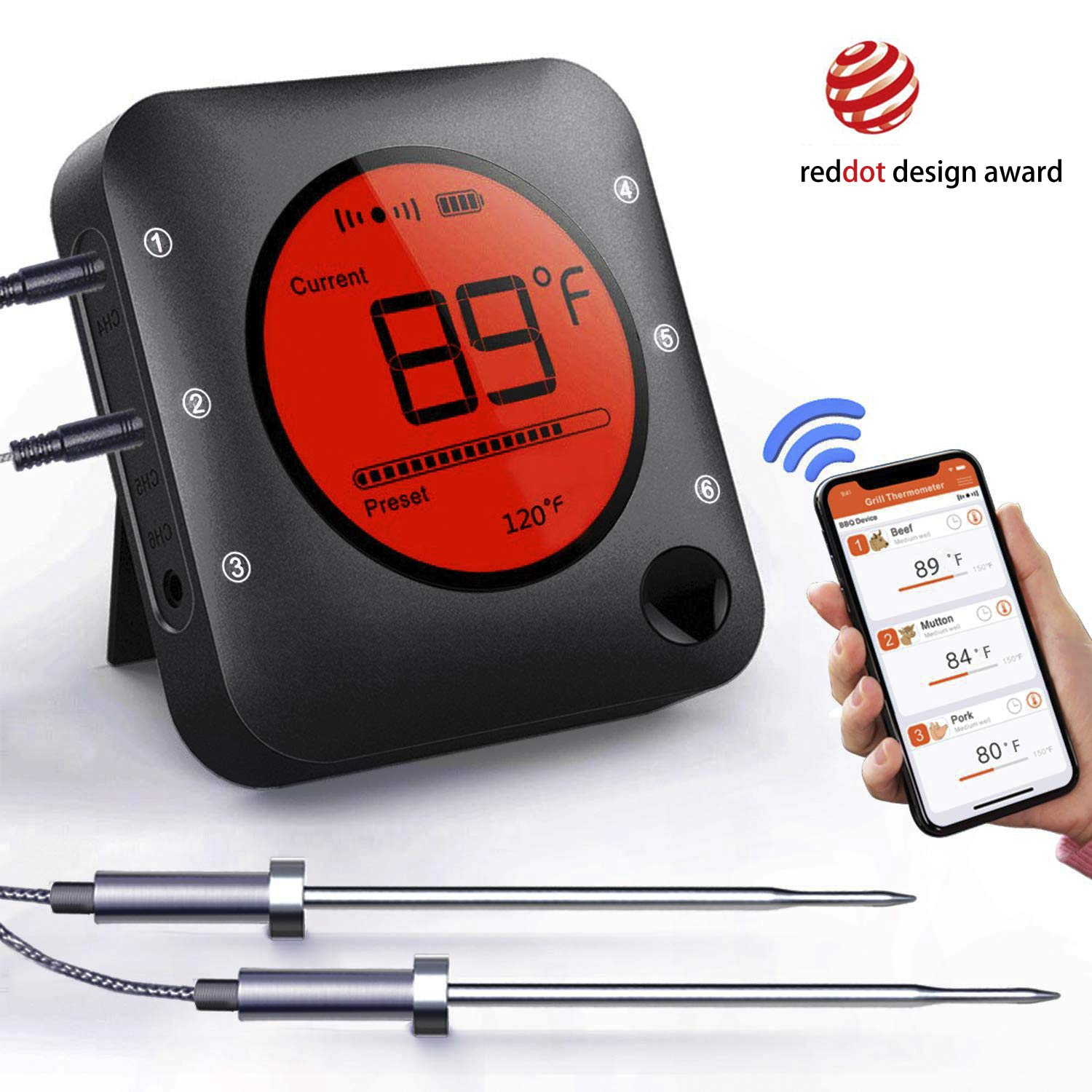 Smart Bluetooth BBQ Grill Thermometer Wireless Bluetooth 5.0 Barbecue Meat Thermometer with 2 Stainless Steel Probes, APP Smart Alarm, Large LCD Display for Grilling Smoker, Barbecue, Outdoor Cooking by Bfour