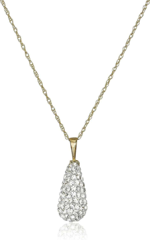 Amazon Collection Mujer 10 quilates oro amarillo round-shape cristal
