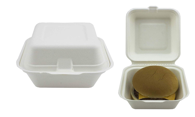 Bagasse Clamshell Takeaway - Caja de hamburguesas desechables de 6 pulgadas (50 unidades, superrígida, biodegradable, compostable y reciclable)