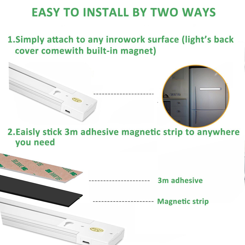 Sensor de movimiento luz Homore luz del armario, lámpara de armario 66 LED, 2400 mAh recargable para armario de cocina armario cobertizo garaje paso noche ...