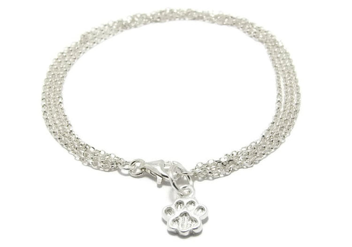 Kyperco 4 Layered Fine Sterling Silver Chain Links With Customized Animal Paw Charm Handmade Bracelet For Women