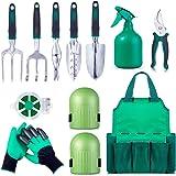 Garden Tool Set Gardening Bag Accessories 12 Pieces Kit/Home & Gardening Kneeler Pad/Stainless Steel Hand Digging Tools Pruner, Shovel, Fork, Rake, Shears, Weeder, Gloves, Water Sprayer, Plant Rope