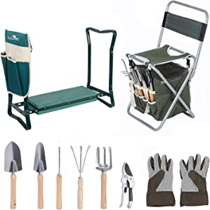LUCKYERMORE 10 Piece Garden Tools Set with Garden Kneeler Seat Heavy Duty Gardening Tools Ergonomic Wooden Handle Sturdy Stool with Detachable Tool Kit