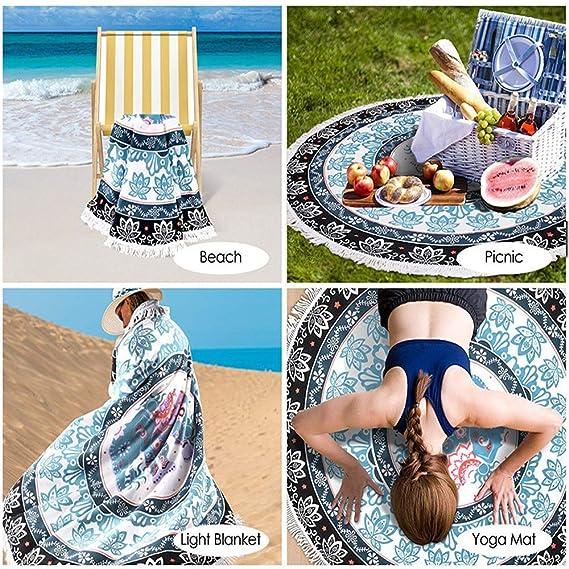 CSJY Fibra impresión Activa Ronda Playa Toalla Playa Yoga ...