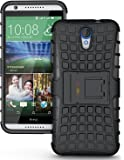 Heartly Flip Kick Stand Spider Hard Dual Rugged Armor Hybrid Bumper Back Case Cover For HTC Desire 620 620G 820 Mini Dual Sim - Rugged Black
