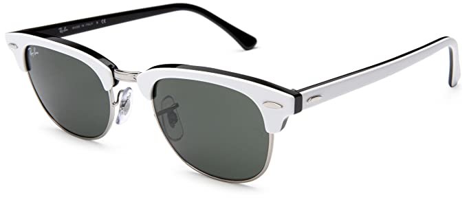 dc9e770feb3 ... spain ray ban clubmaster ii top white on black frame crystal green  lenses 49mm non 4b255