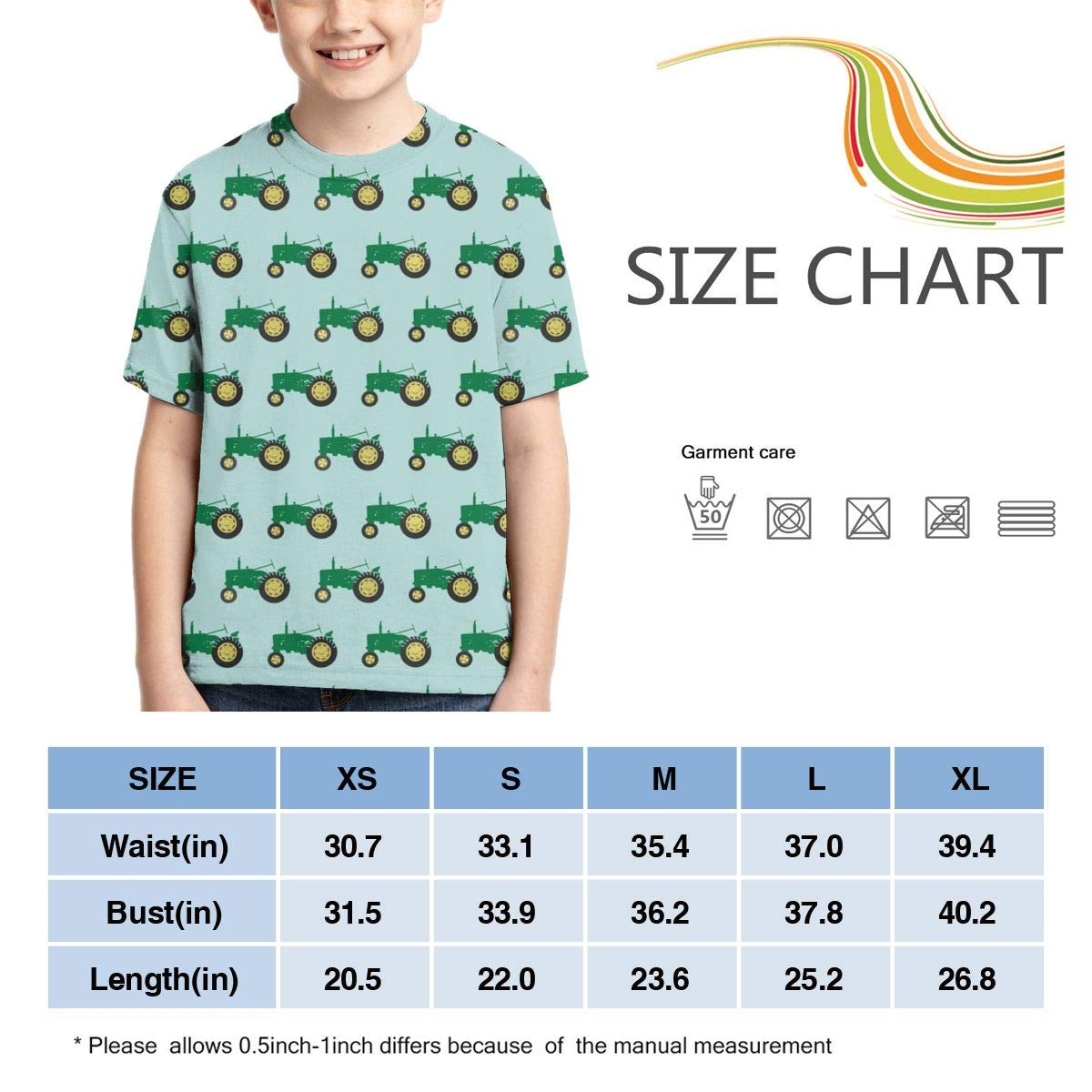 HHTZTCL Green Tractor Boys Print Graphic Tee Short Sleeve T-Shirt