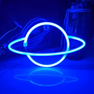 JYWJ Planet Neon Signs,USB or 3-AA Battery Powered Neon Light,LED Lights Table Decoration,Girls Bedroom Wall Décor,Kids Birthday Gift,Wedding Party Supplies Business Gifts Neon Signs (Blue)