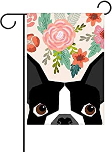 Boston Terrier Garden Flag Small - Flower Dog House Flag Welcome Holiday Yard Flag Spring Garden Decor Dogs Flag Banner Double Sided Outdoor Flags 12x18