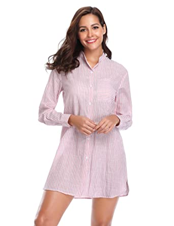 a854129cb2 Lusofie Women s Boyfriend Style Sleep Shirt Long Sleeve Sleepwear Striped  Nightshirts (Light Pink