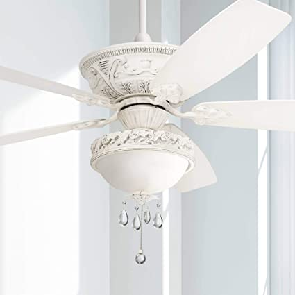 60 Montego Vintage Chic Ceiling Fan With Light Led Dimmable Rubbed White Marbleized Glass Bowl Crystal Beaded For Living Room Kitchen Bedroom Family