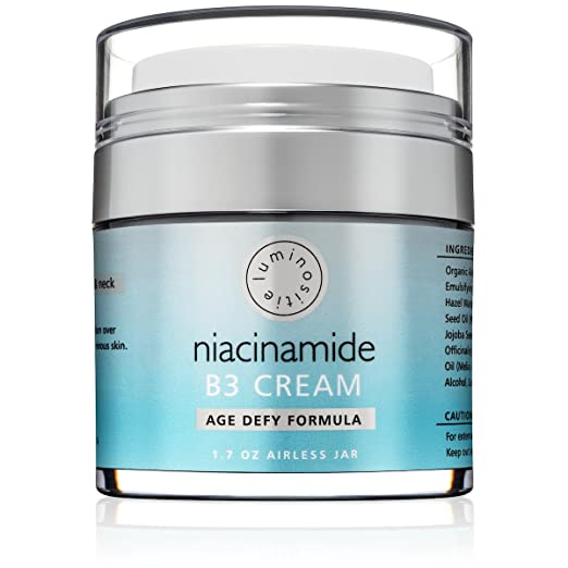 5% Niacinamide Vitamin B3 Cream Serum - Anti-Aging For Face & Neck. LARGE 1.7oz. Use Morning & Night. Firms & Renews Skin. Tightens Pores, Reduces Wrinkles, Fades Dark Spots & Boosts Collagen