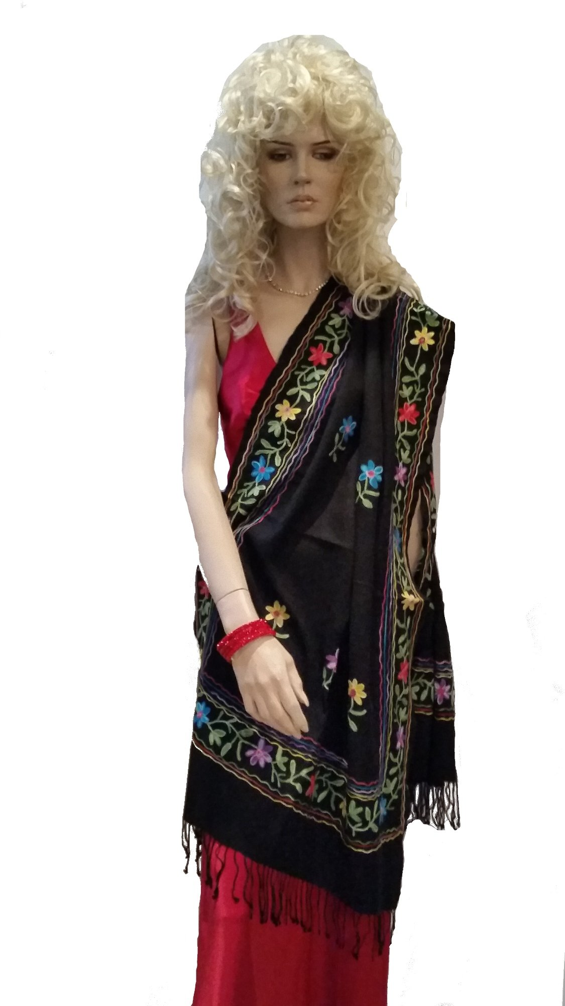 SHAWL/ SCARF- CASHMERE PASHMINA WRAP WITH ALL OVER CREWEL EMBROIDERY