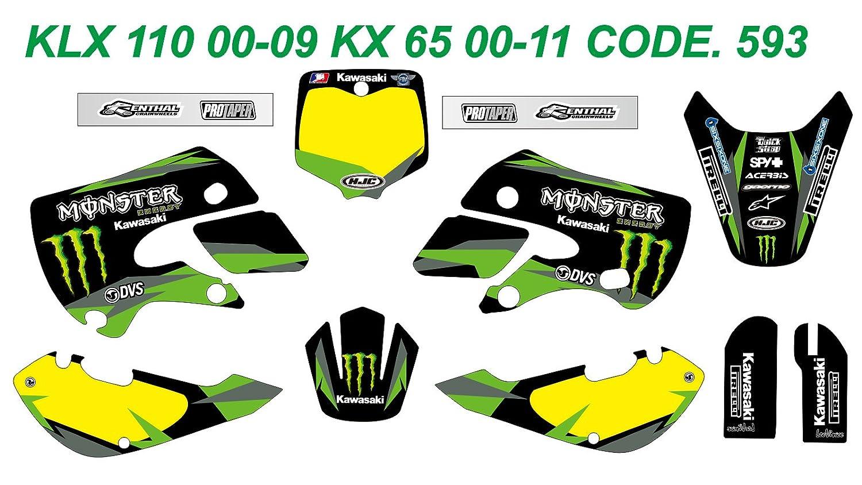 593 KAWASAKI KLX 110 00-09 KX 65 00-13 DECALS STICKERS GRAPHICS KIT Dog Racing Design