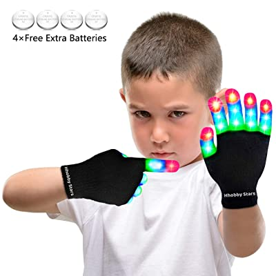 LED Flashing Finger Lighting Gloves, Colorful Light Up Toys with Extra Batteries for Kids 3 4 5 6 7 8 9 10 Years Old,Camping Outdoor Games Dark Party Favors Sensory Glow Toys, Best Gift for Christmas: Toys & Games