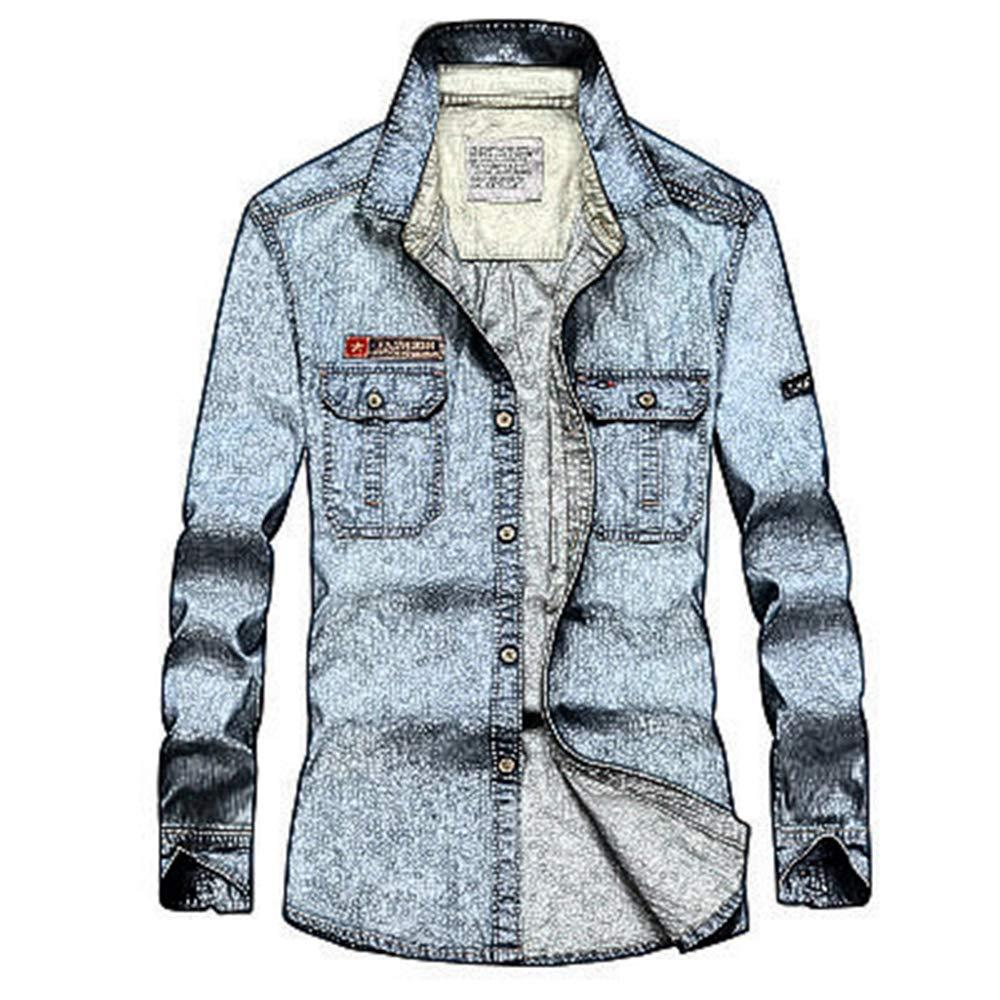 Linson123 Mens Shirt Long Sleeve Lapel Slim Denim Shirt Casual Fashion Shirt Jacket