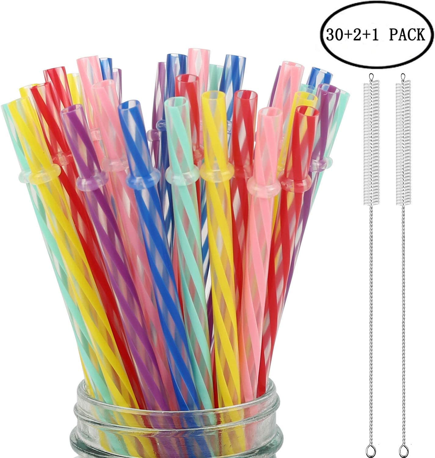 33 Pieces Reusable Plastic Straws Fit for Mason Jars, Tumblers, 9 Inches Transparent Colored Unbreakable Drinking Straws with 1 Straw Carrying Case and 2 Cleaning Brushes, BPA Free and Eco-friendly