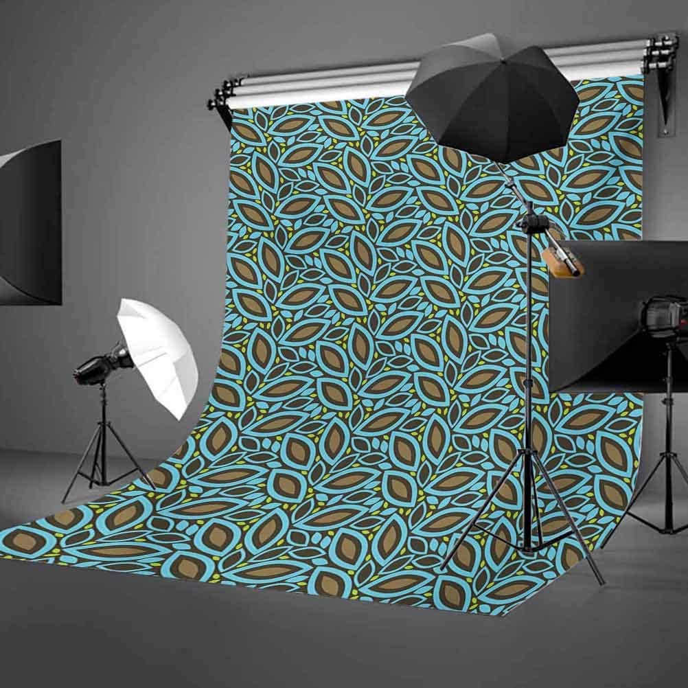 Leaves 10x15 FT Photo Backdrops,Foliage Pattern with Retro Inspirations Plant Silhouettes Design Spring Theme Background for Baby Birthday Party Wedding Vinyl Studio Props Photography Taupe Blue Gree
