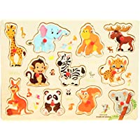 Baccha Party Multicolor Wooden Educational Puzzle with Knobs for Kids |Animals