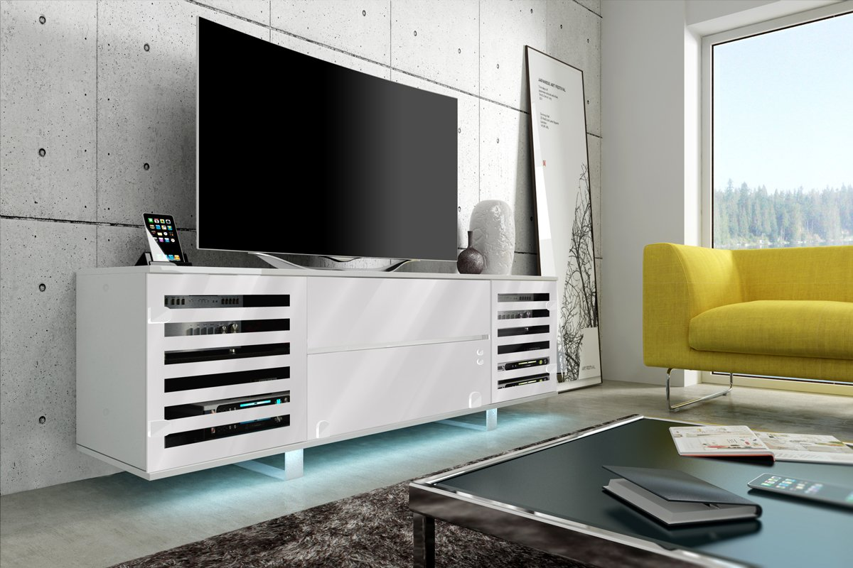 Meuble Tv Vero Ii Avec Led Cabinet Pour La Tv Blanc Fronts  # Meuble Tv Vero
