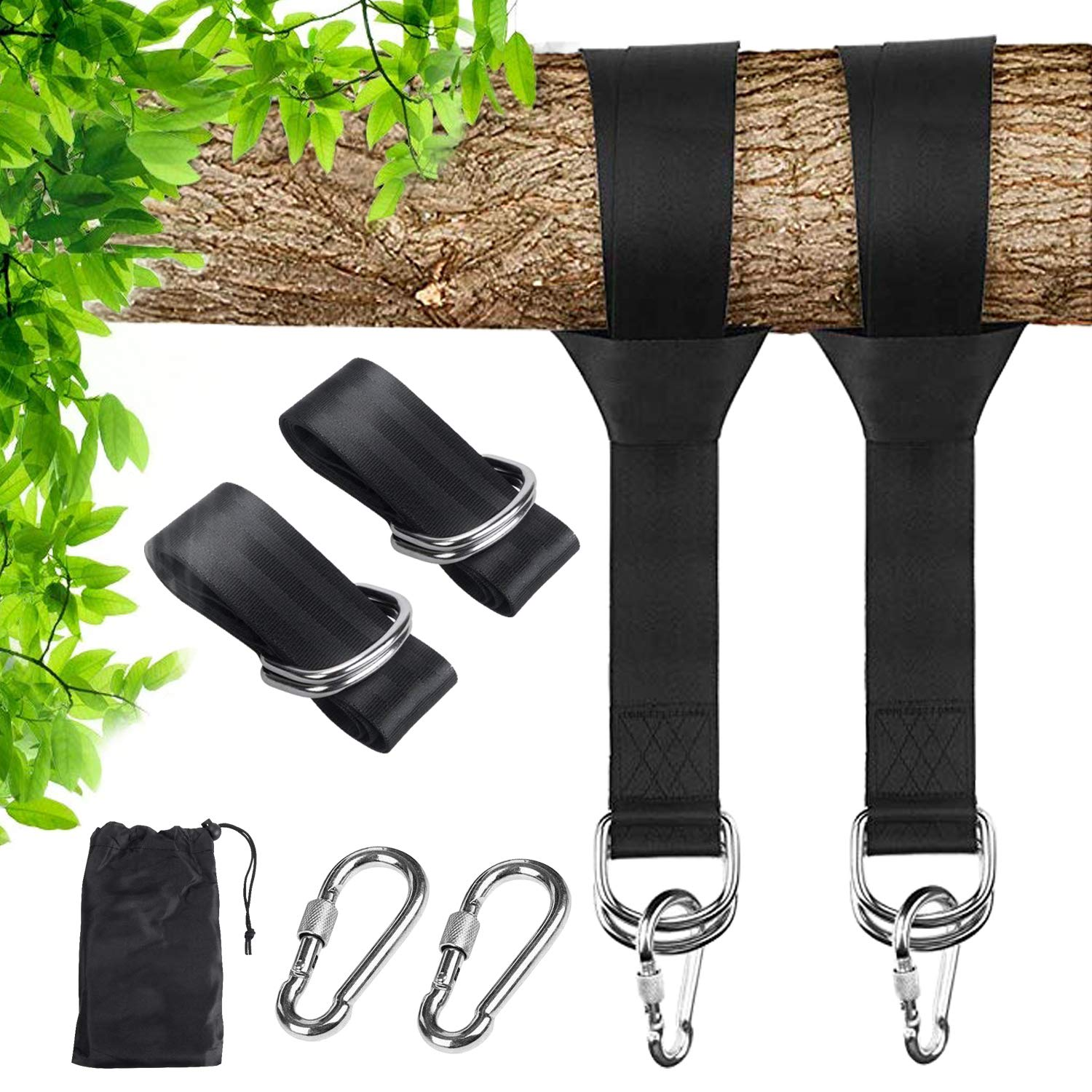 FIDGETERRELAX Tree Swing and Hammocks, Hang Straps Kit Holds 2200 lbs with Carry Pouch Safety Lock Carabiner Hooks for Kids and Adults