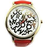 Morgan [N2410] - Montre créateur 'Morgan' rouge doré (Monogramme)