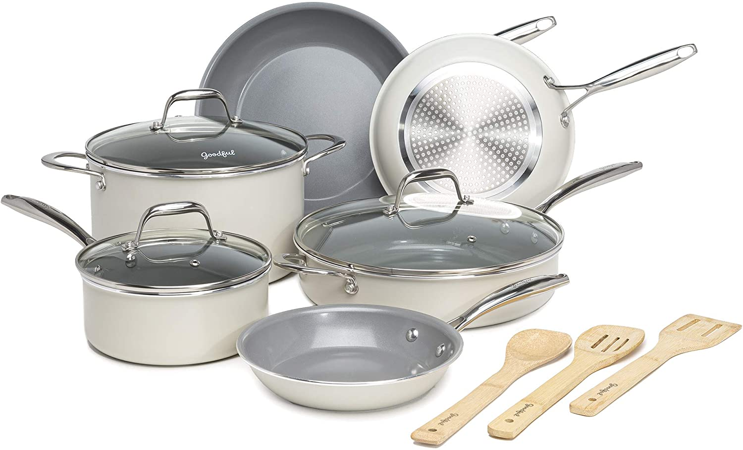 Goodful 12 Piece Cookware Set With Titanium-Reinforced Premium Non-Stick Coating