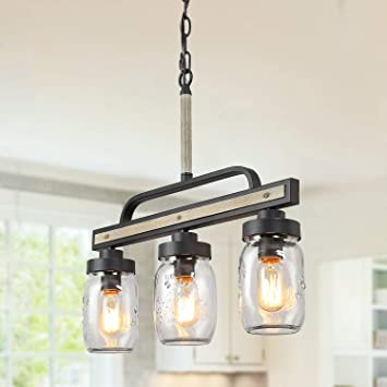 Log Barn Rustic Mason Jar Island Chandelier, 3 Lights Farmhouse Kitchen  Pendant Light Fixture in Distressed Faux Wood and Dark Grey Metal Finish,  22\