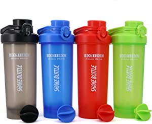 Shaker Bottle 2 Pack for Protein Mixes Cups Powder Blender Smoothie Shakes BPA Free Small Shake With Powerful Mixing Ball - 24 Ounce (Random Full Color)