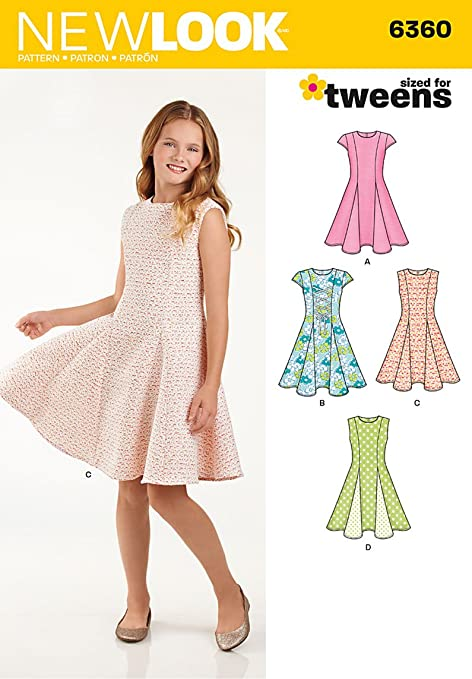 New Look 6360 Size A Girls\' Sized for Tweens Dress Sewing Pattern ...