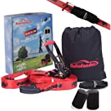 Autofonder 50ft Slackline Kit-250lbs Weight Capacity for Adults Children Beginners-Perfect Slack Line with Tree Protectors Ra