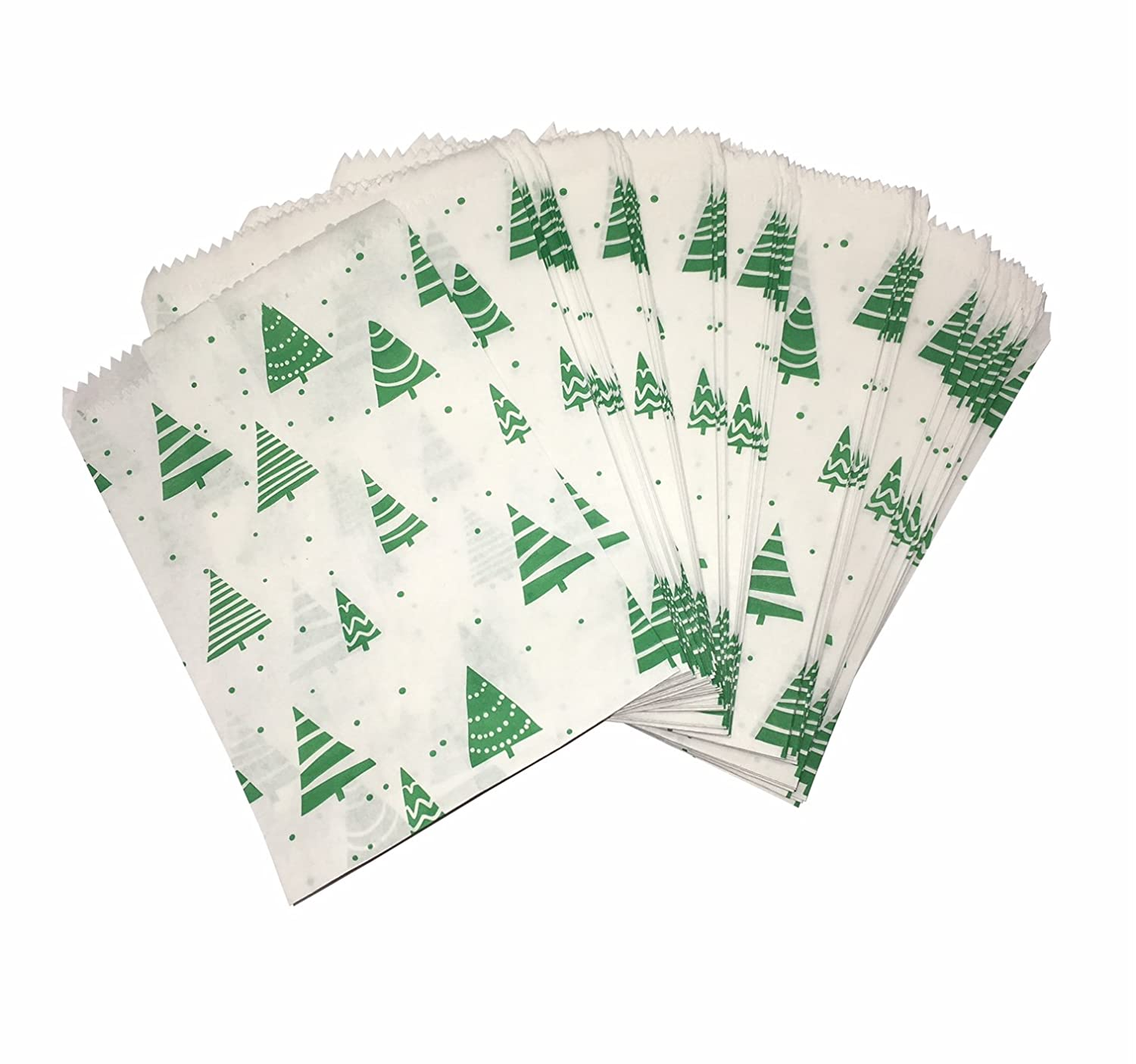 100x Christmas Tree Design Paper Bags - 5